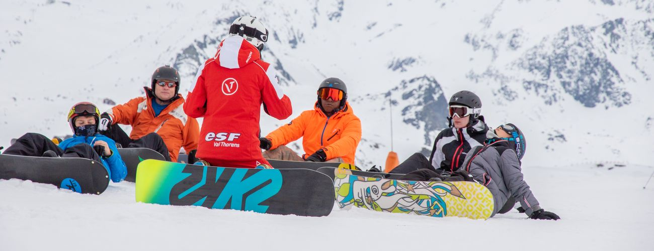 Teens Are Riding Snowboard With The Esf Val Thorens