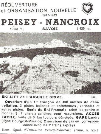 Pub pour Peisey en 1947